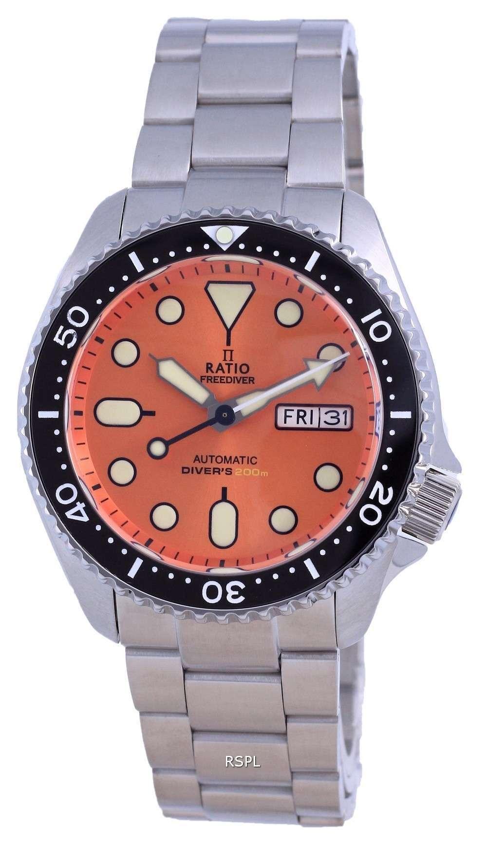 Ratio FreeDiver, esfera naranja, acero inoxidable, automático, RTA114, 200M, reloj para hombre