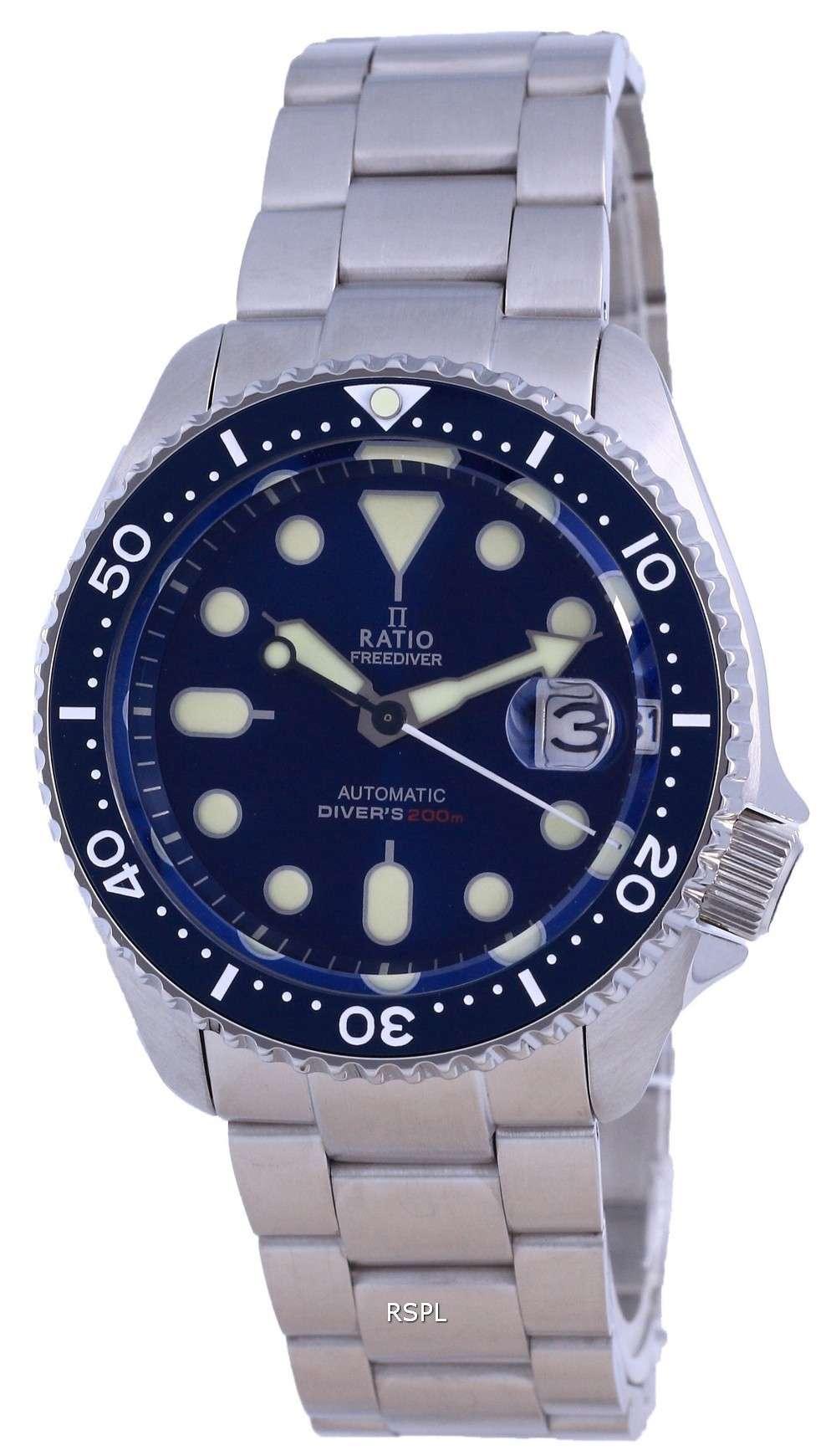 Ratio FreeDiver Dial azul Acero inoxidable Automático RTB202 200M Reloj para hombre