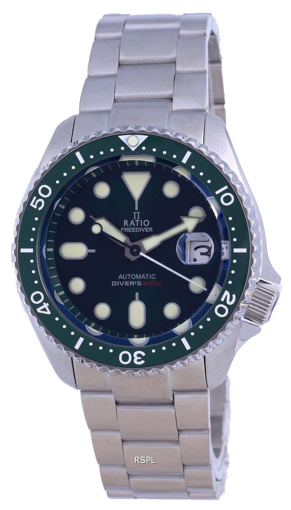 Ratio FreeDiver esfera verde acero inoxidable automático RTB205 200M reloj para hombre