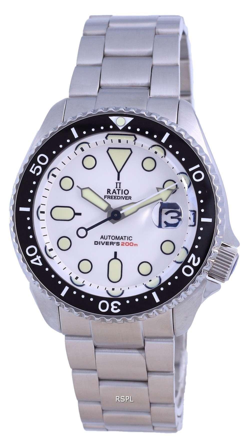 Ratio FreeDiver Dial blanco Acero inoxidable Automático RTB209 200M Reloj para hombre