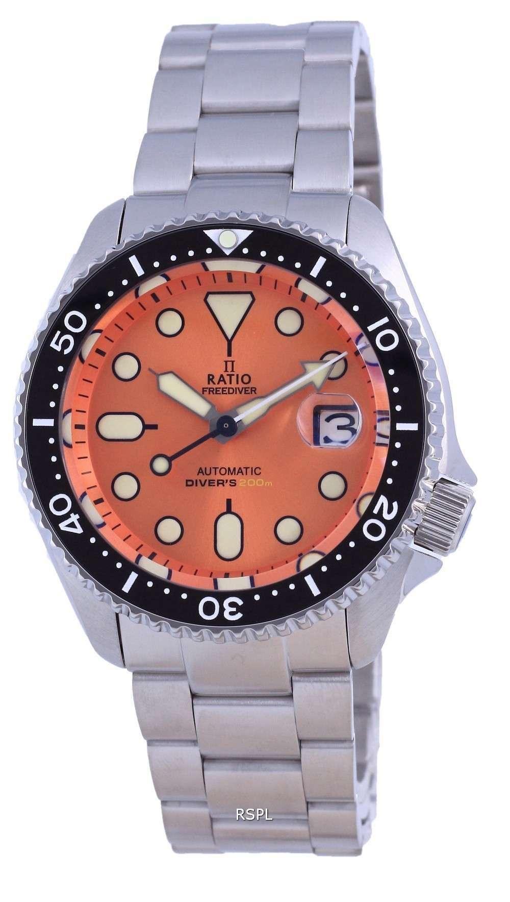 Ratio FreeDiver Dial naranja Acero inoxidable Automático RTB214 200M Reloj para hombre