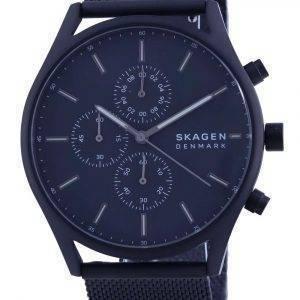 Reloj Skagen Holst con esfera negra, cronógrafo, acero inoxidable, cuarzo, SKW6651, para hombre