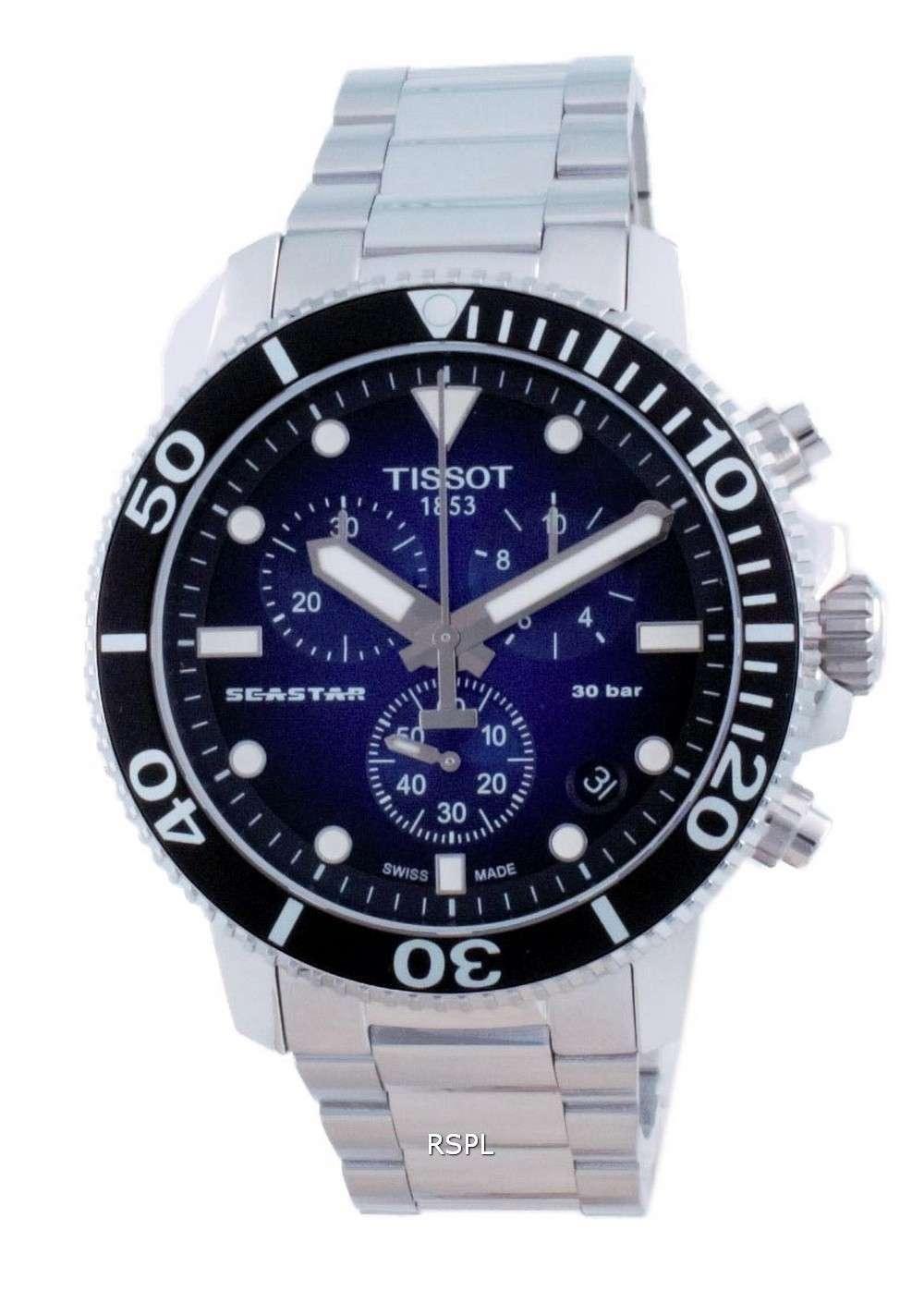 Tissot T-Sport Seastar 1000 Chronograph Quartz Diver&#39,s T120.417.11.041.01 T1204171104101 300M Reloj para hombre