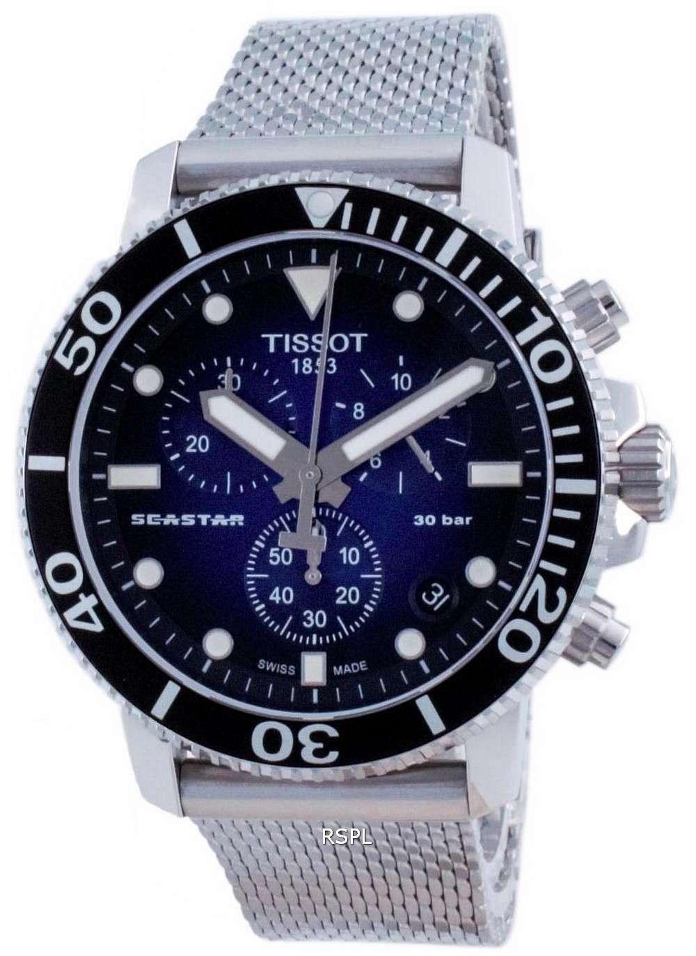 Tissot T-Sport Seastar 1000 cronógrafo de cuarzo T120.417.11.041.02 T1204171104102 300M Reloj para hombre