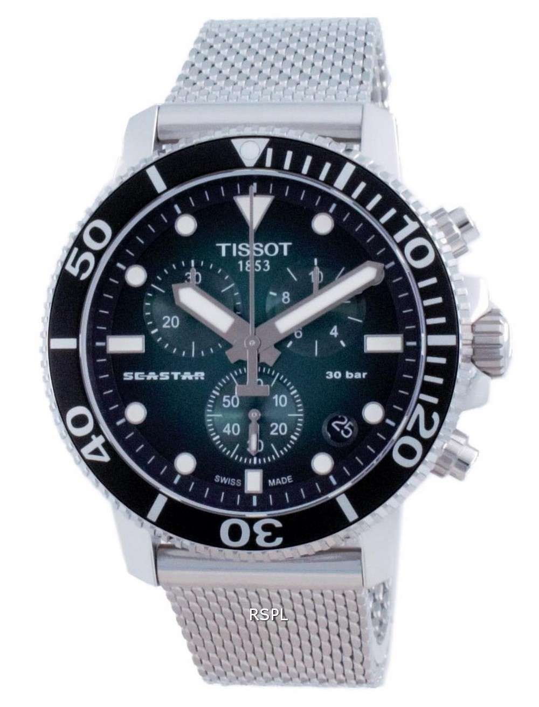 Tissot T-Sport Seastar 1000 Chronograph Diver&#39,s Quartz T120.417.11.091.00 T1204171109100 300M Reloj para hombre